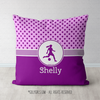 Pink With Purple Stars Personalized Soccer Throw Pillow - Golly Girls