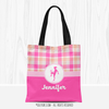 Personalized Sweet Peach Plaid Soccer Tote Bag
