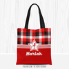 Personalized Red and Black Plaid Soccer Tote Bag - Golly Girls