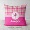 Personalized Soccer Sweet Peach Plaid Throw Pillow