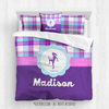 Golly Girls: Personalized Soccer Purple Plaid Queen Comforter Set + Pillow