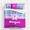 Golly Girls: Bubblegum Plaid Soccer Personalized Comforter Or Set