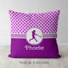 Pink With Purple Stars Personalized Softball Throw Pillow - Golly Girls