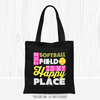 Golly Girls: The Softball Field Is My Happy Place Black Tote Bag