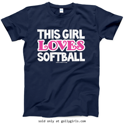 This Girl Loves Softball T Shirt Youth Adult Golly Girls