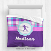 Golly Girls: Personalized Softball Purple Plaid Queen Comforter