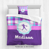 Golly Girls: Personalized Softball Purple Plaid Queen Comforter + Pillow