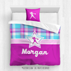 Golly Girls: Bubblegum Plaid Softball Personalized Comforter Or Set