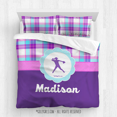 Golly Girls: Personalized Softball Purple Plaid Queen Comforter Set