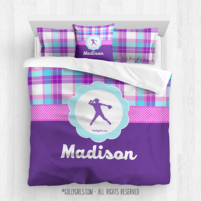 Golly Girls: Personalized Softball Purple Plaid Queen Comforter Set + Pillow