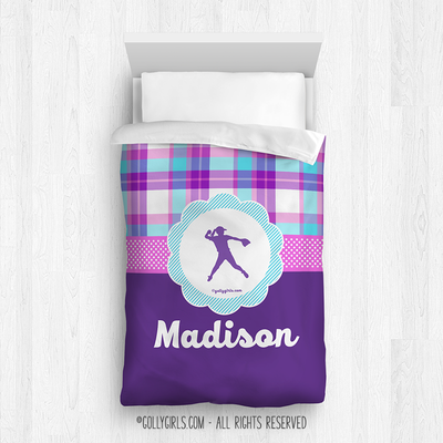 Golly Girls: Personalized Softball Purple Plaid Twin Comforter