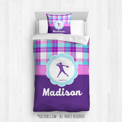 Golly Girls: Personalized Softball Purple Plaid Twin Comforter + Pillow