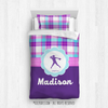 Golly Girls: Personalized Softball Purple Plaid Twin Comforter Set