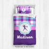 Golly Girls: Personalized Softball Purple Plaid Twin Comforter Set + Pillow