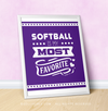 "Softball is My Favorite Purple 16"" x 20"" Poster - Golly Girls"