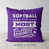 Softball is My Favorite Purple Throw Pillow - Golly Girls