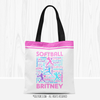 Golly Girls: Pink Typography Personalized Softball Tote Bag