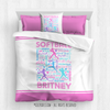 Golly Girls: Pink Typography Personalized Softball Comforter Or Set