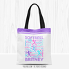 Golly Girls: Purple Typography Personalized Softball Tote Bag
