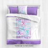 Golly Girls: Purple Typography Personalized Softball Comforter Or Set