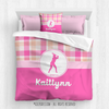 Sweet Peach Plaid Softball Personalized Comforter Or Set - Golly Girls