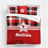 Red and Black Plaid Softball Personalized Comforter Or Set - Golly Girls
