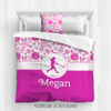 Pink Sweet Floral Softball Personalized Comforter Or Set - Golly Girls
