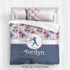 Berry Pink and Blue Sweet Floral Softball Personalized Comforter Or Set - Golly Girls