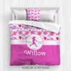 Fuchsia Sweet Floral Softball Personalized Comforter Or Set - Golly Girls
