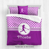 Pink With Purple Stars Softball Personalized Comforter Or Set - Golly Girls