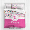 Springtime Pink Sweet Floral Softball Personalized Comforter Or Set - Golly Girls