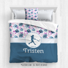 Blue Sweet Floral Softball Personalized Comforter Or Set - Golly Girls