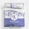 Lilac and Lavender Sweet Floral Softball Personalized Comforter Or Set - Golly Girls