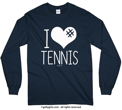 I Hashtag Heart Tennis Long Sleeve T-Shirt (Youth-Adult) - Golly Girls