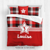 Red and Black Plaid Tennis Personalized Comforter Or Set
