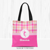 Personalized Sweet Peach Plaid Volleyball Tote Bag - Golly Girls