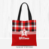 Personalized Red and Black Plaid Volleyball Tote Bag - Golly Girls