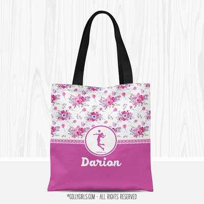 Golly Girls: Floral and Lace Personalized Volleyball Tote Bag