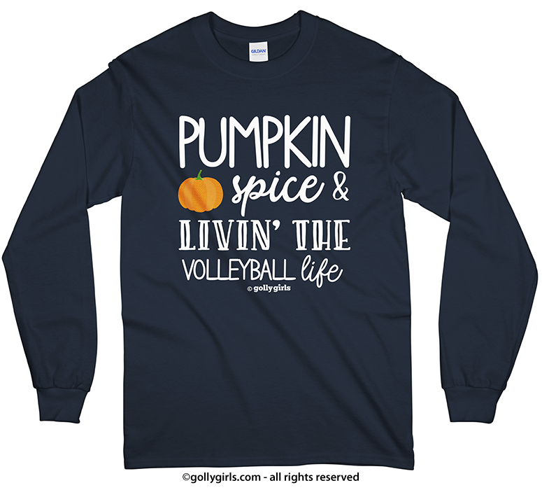 982237643 Golly Girls: Pumpkin Spice Volleyball Long Sleeve Navy T-Shirt (Youth &  Adult