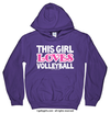 Golly Girls: This Girl Loves Volleyball Purple Hoodie (Youth & Adult Sizes)