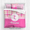 Sweet Peach Plaid Volleyball Personalized Comforter Or Set