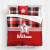 Red and Black Plaid Volleyball Personalized Comforter Or Set