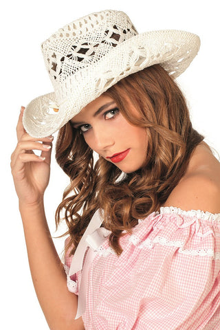Cowboy Hat-White Lace