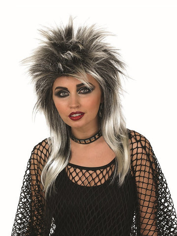 Glam Rock Silver and Black Wig