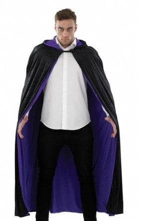 Black Hooded Cape-Long-Purple lining