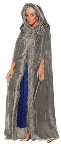 Faux Fur Trimmed Cape-Grey
