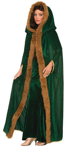 Faux Fur Trimmed Cape-Green