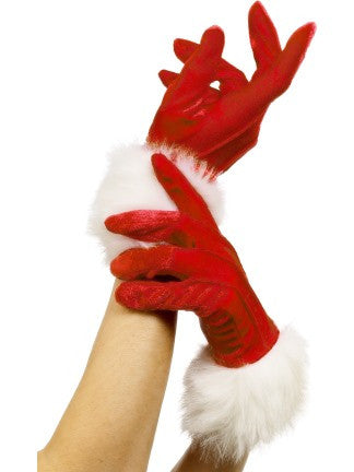 Miss Santa Gloves-Red