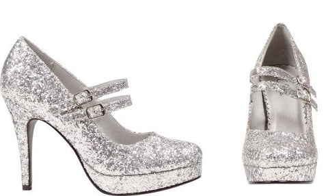 Glitter Dolly Shoes Silver