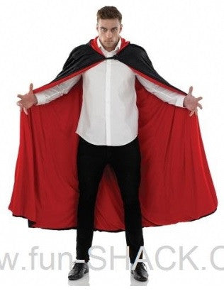 BLACK Hooded Cape-Long-Red Lining
